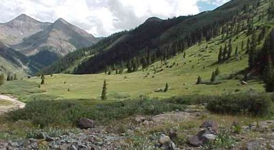 Near the ghost town of Animas Forks  Animas River borders Lower part